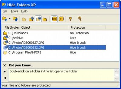 Hide Folders XP 2.9.8 screenshot