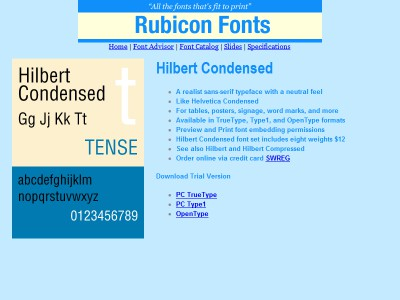 Hilbert Condensed Font Type1 2.00 screenshot