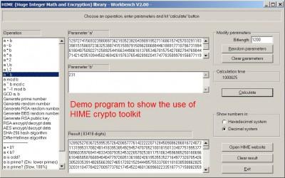 HIME: Huge Integer Math and Encryption 2.05.1 screenshot