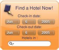 HotelSearch Yahoo! Widget 1.3 screenshot