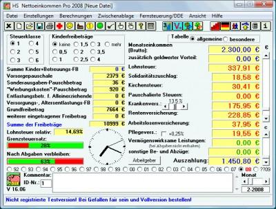 HS Nettoeinkommen Pro 2006 14.03 screenshot