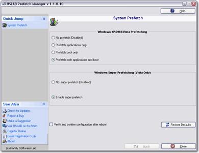 HSLAB Prefetch Manager 1.4.831.20 screenshot