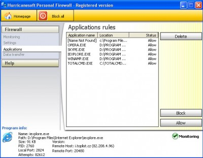 Hurricanesoft Personal Firewall 2.0.5 screenshot