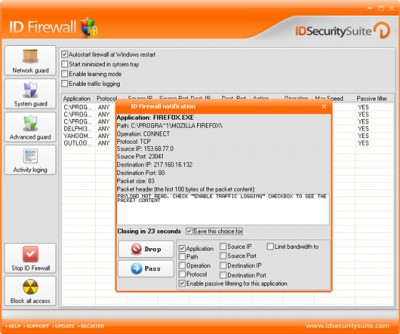 ID Firewall 1.2 screenshot