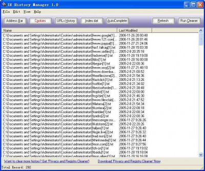 IE History Manager 1.0 screenshot