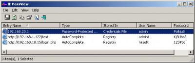 IE PassView 1.40 screenshot