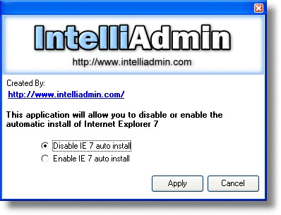 IE7 Automatic Install Disabler 2.0 screenshot
