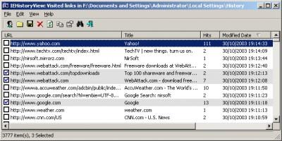 IEHistoryView 1.70 screenshot