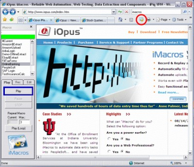 iMacros Web Automation and WebSite Testing 5.10 screenshot