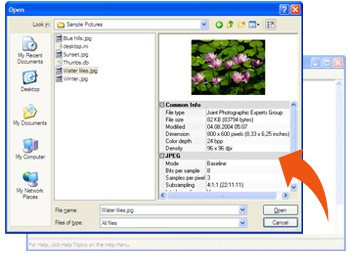 Image Open Save Dialog 8.2.0 screenshot