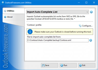 Import Auto-Complete List for Outlook 4.10 screenshot