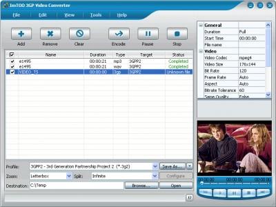 ImTOO 3GP Video Converter 3.1.40.090 screenshot