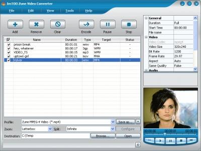 ImTOO Zune Video Converter 2 3.8.34.062 screenshot