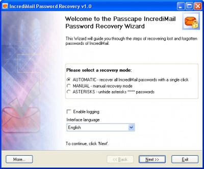 IncrediMail Password Recovery 1.6.0 screenshot