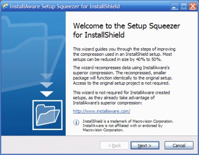 InstallAware Setup Squeezer for InstallShield 1.0 screenshot