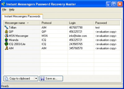 Instant Messengers Password Recovery Master 1.1 screenshot