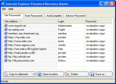 Internet Explorer Password Recovery Master 2.0 screenshot