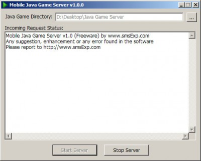 J2ME Server 1.0 screenshot