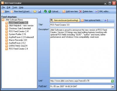 Jitbit RSS Feed Creator 3.77 screenshot