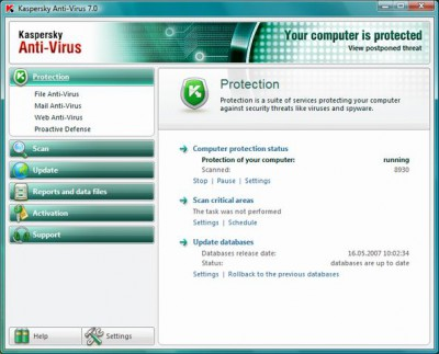 Kaspersky Anti-Virus 7.0 screenshot