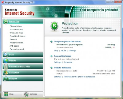 Kaspersky Internet Security 7.0 screenshot