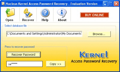 Kernel Access Password Recovery Software 4.02 screenshot