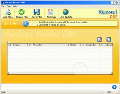 Kernel DBF - Repair corrupt DBF files 5.01 screenshot