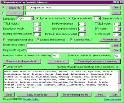 Keywords Meta Tag Generator Advanced Version 7.52 screenshot