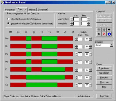Kindersicherung TimeRestrict Free Edt. 2.3.4 screenshot