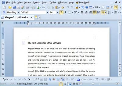 Kingsoft Writer Free 2012 screenshot