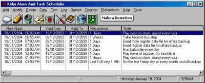 Kirby Alarm And Task Scheduler 2.1 screenshot