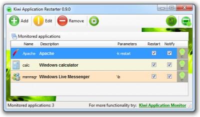 Kiwi Application Restarter 0.9.1 screenshot