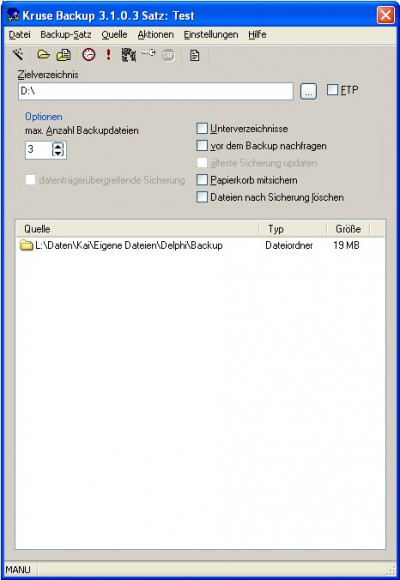 Kruse Backup 3.1 screenshot