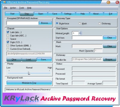 KRyLack Archive Password Recovery 3.70 screenshot