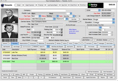 Landlord Report-Property Management Software 2009 screenshot