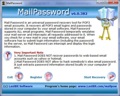 LastBit Mail Password Recovery 6.0.382 screenshot