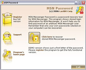 LastBit MSN Messenger Password Recovery 1.5.305 screenshot