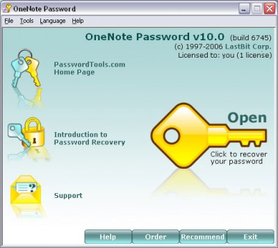 LastBit OneNote Password Recovery 12.0.9123 screenshot