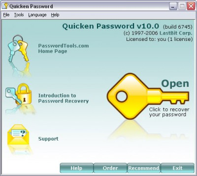 LastBit Quicken Password Recovery 11.0.8050 screenshot