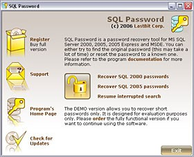 Lastbit SQL Password Recovery 2.5.593 screenshot
