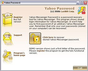 LastBit Yahoo Messenger Password Recovery 2.0.370 screenshot