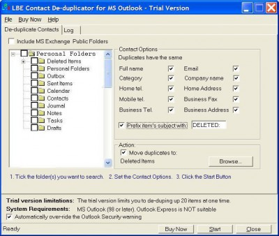 LBE Contact Deduplicator for MS Outlook 3.2.2 screenshot