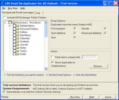 LBE Email Deduplicator or MS Outlook 3.0 screenshot