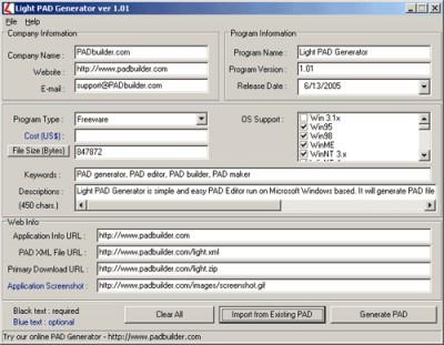 Light PAD Generator 1.01 screenshot