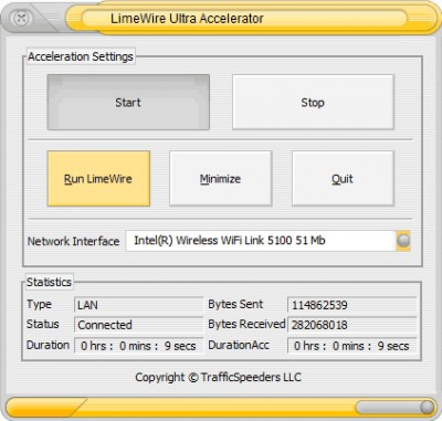 LimeWire Ultra Accelerator 5.2.0 screenshot