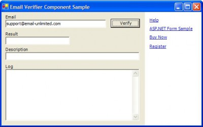 Live Email Validation Component 2.0 screenshot