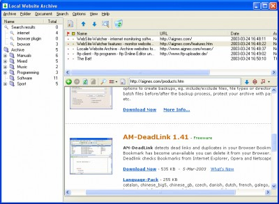 Local Website Archive Lite 2011 screenshot