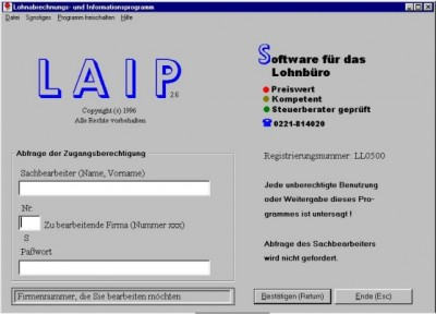 Lohnabrechnung -und Informationsprogramm 3.14 screenshot