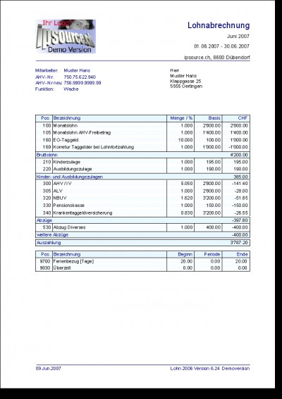 Lohnabrechnung Lohn 2006 6.0 screenshot