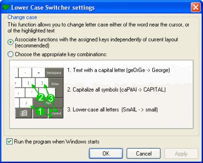 Lower Case Switcher 2.01 screenshot